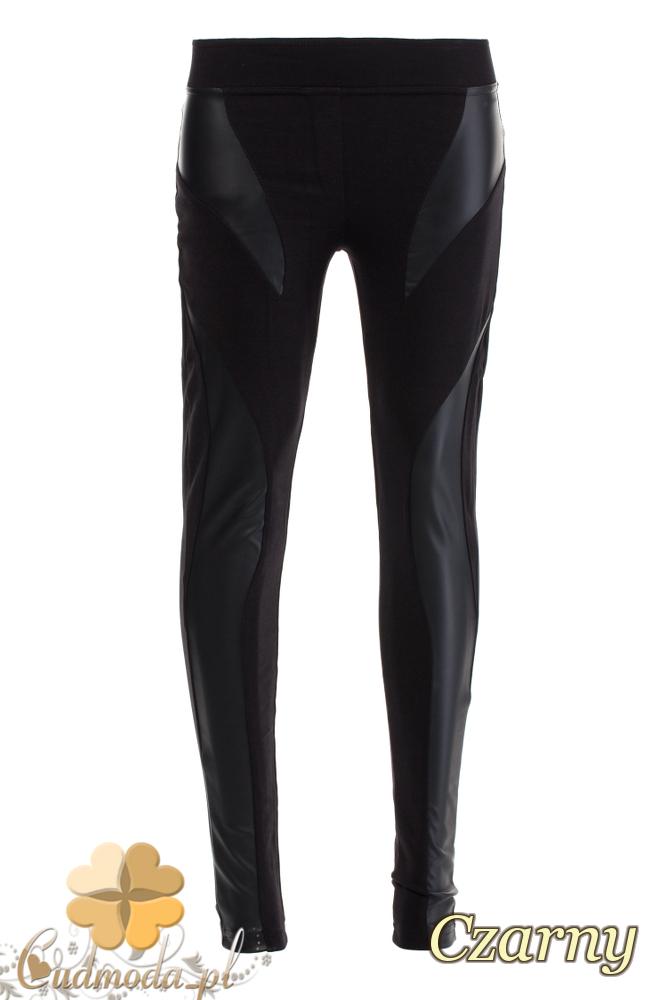 CM1927 Włoskie wyszczuplające legginsy ze skórzanymi wstawkami - czarne