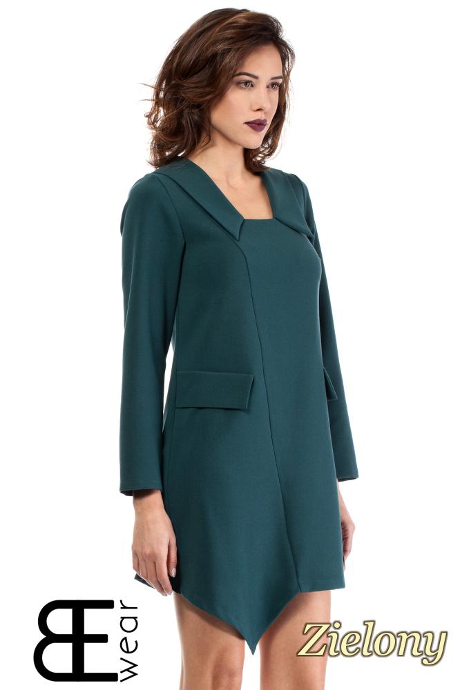 CM2000 Biurowa sukienka mini asymetryczna - zielona