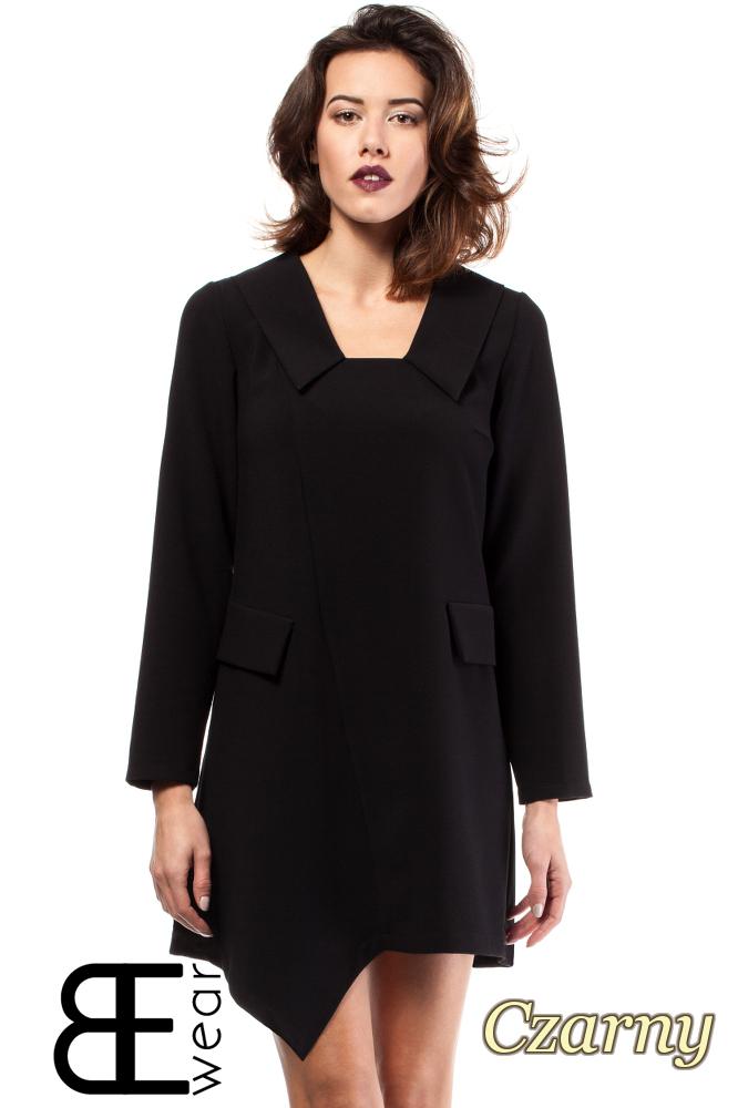 CM2000 Biurowa sukienka mini asymetryczna - czarna