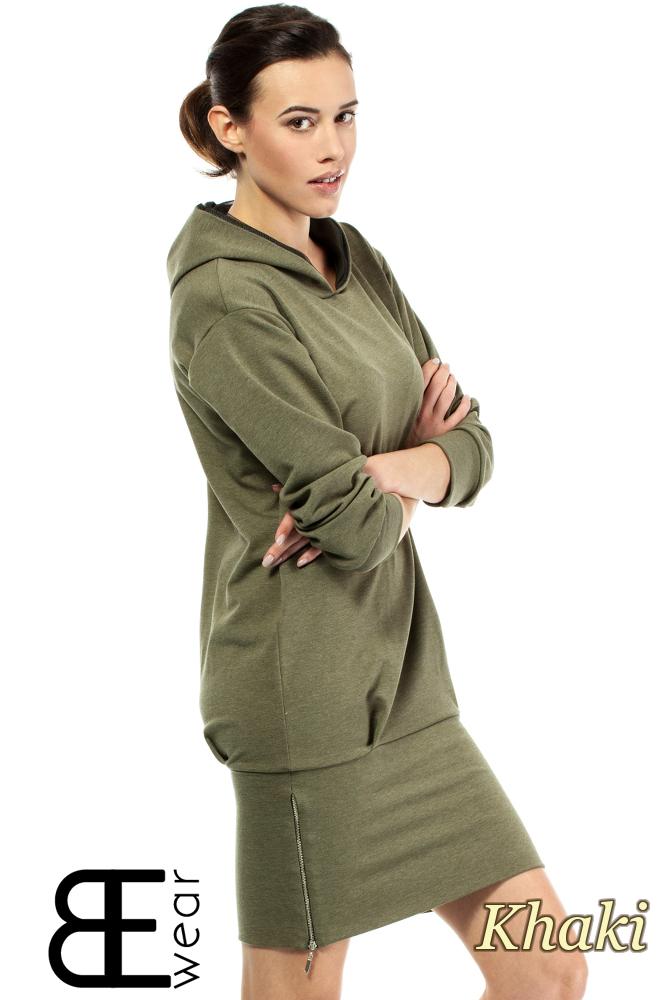 CM2001 Dresowa sukienka sportowa z zamkiem - khaki