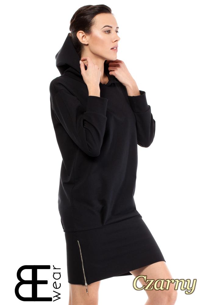 CM2001 Dresowa sukienka sportowa z zamkiem - czarna