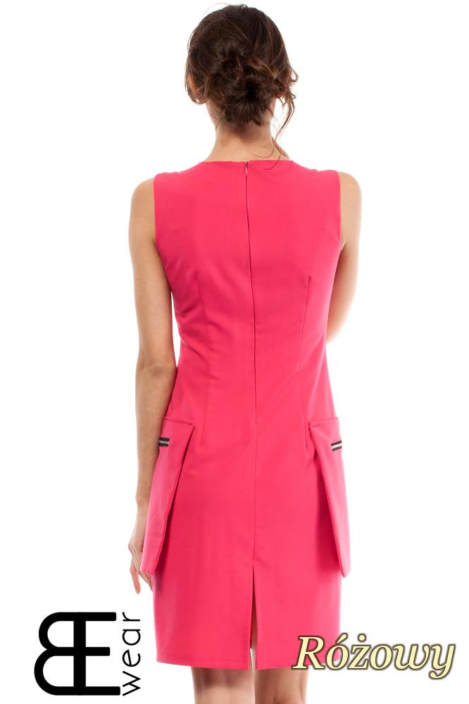 CM2003 Dopasowana sukienka bez rękawów z kieszeniami - różowa