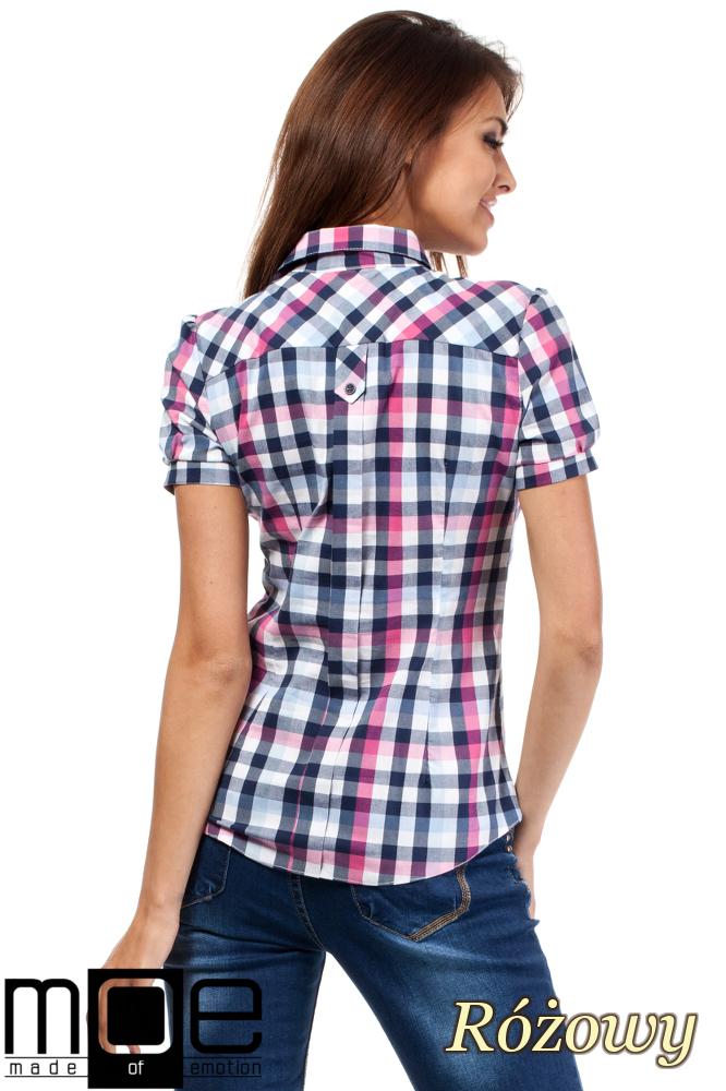 CM1450 Kobieca koszula z krótkim rękawem w kratę - różowa