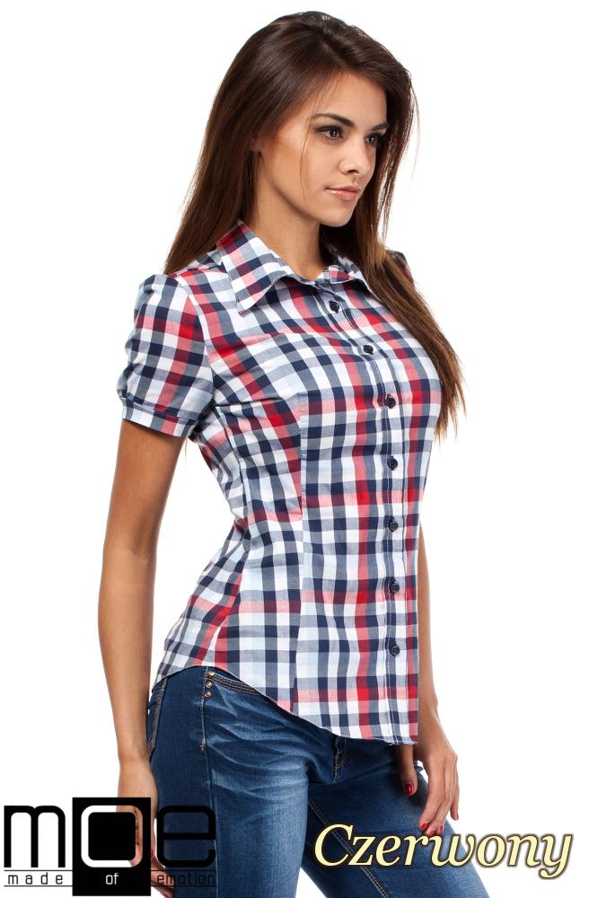 CM1450 Kobieca koszula z krótkim rękawem w kratę - czerwona