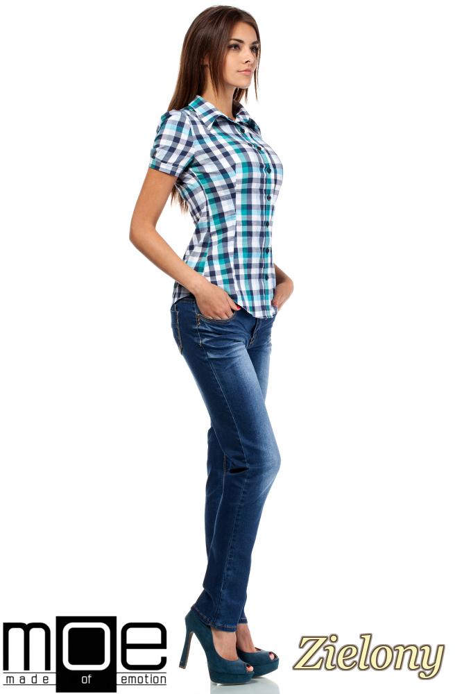 CM1450 Kobieca koszula z krótkim rękawem w kratę - zielona