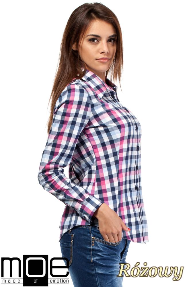 CM1447 Damska koszula w kratę z długim rękawem - różowa