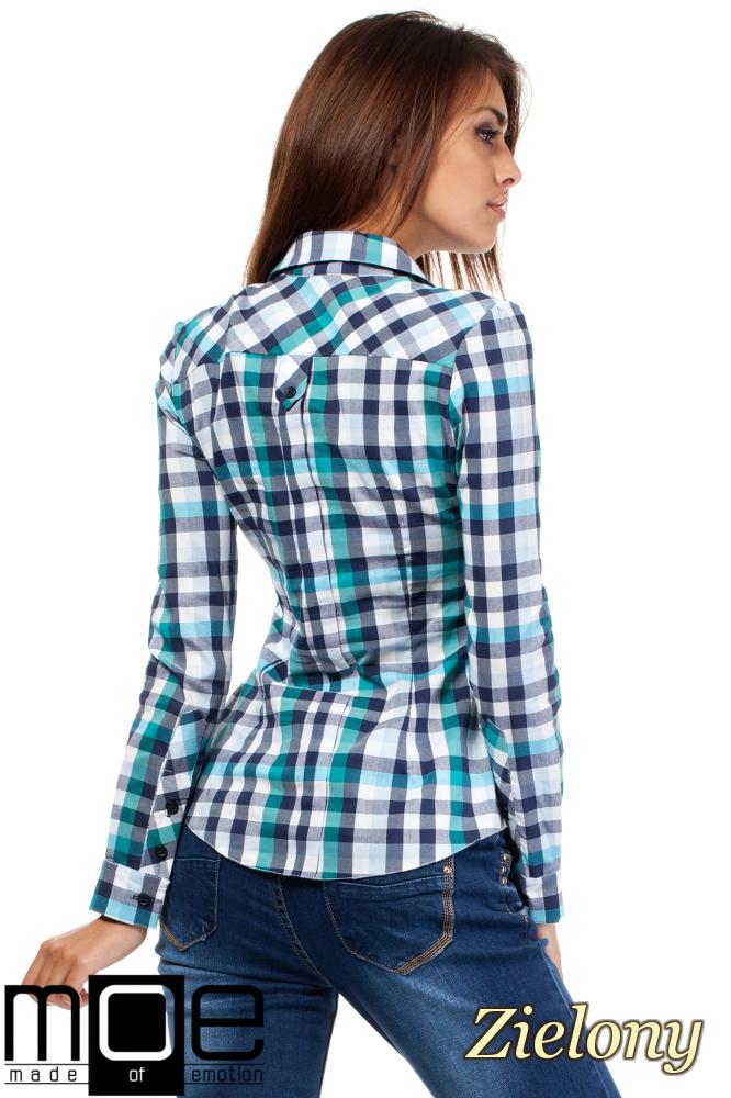 CM1447 Damska koszula w kratę z długim rękawem - zielona
