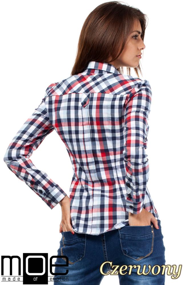 CM1447 Damska koszula w kratę z długim rękawem - czerwona