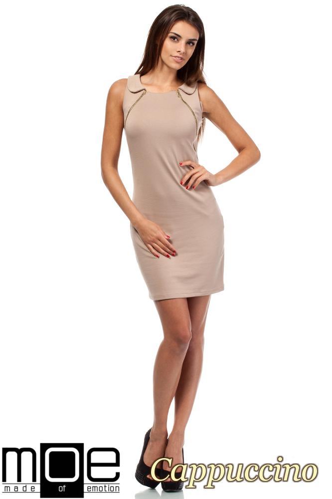 CM1560 Taliowana sukienka z zamkami i kołnierzem - cappuccino