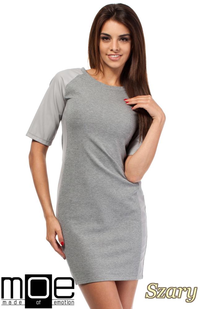 CM1606 Taliowana sukienka mini ze skórzanymi wstawkami - szara