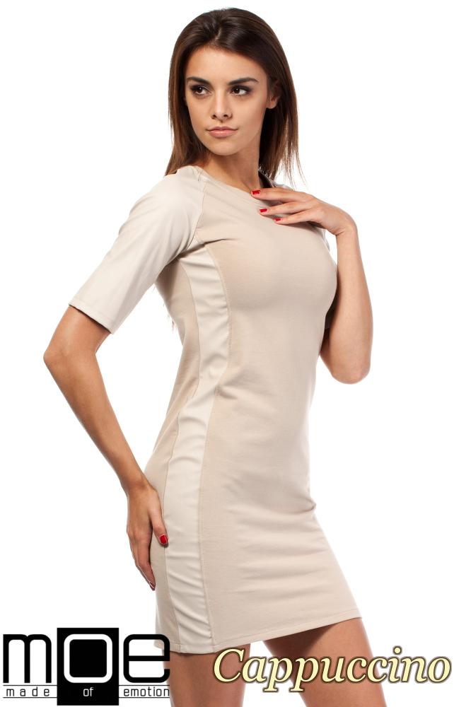 CM1606 Taliowana sukienka mini ze skórzanymi wstawkami - cappuccino
