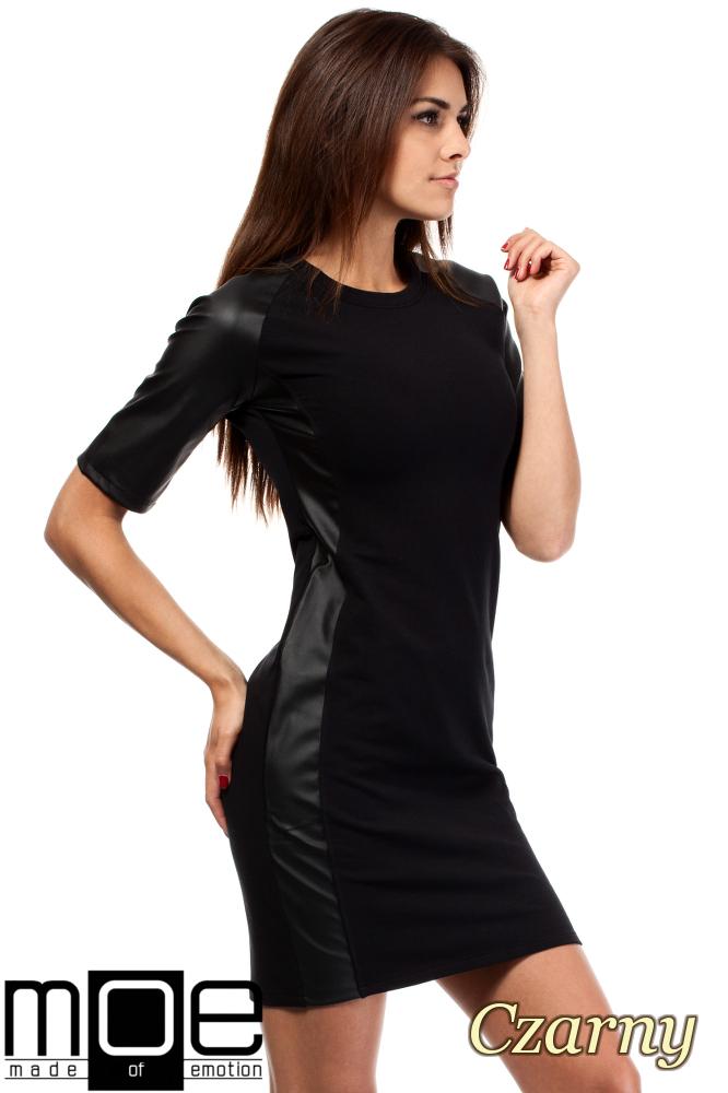 CM1606 Taliowana sukienka mini ze skórzanymi wstawkami - czarna