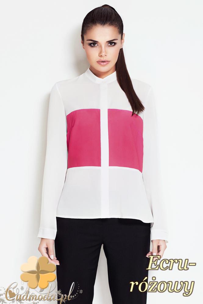 CM2006 Elegancka koszula z kontrastową wstawką - ecru-różowa