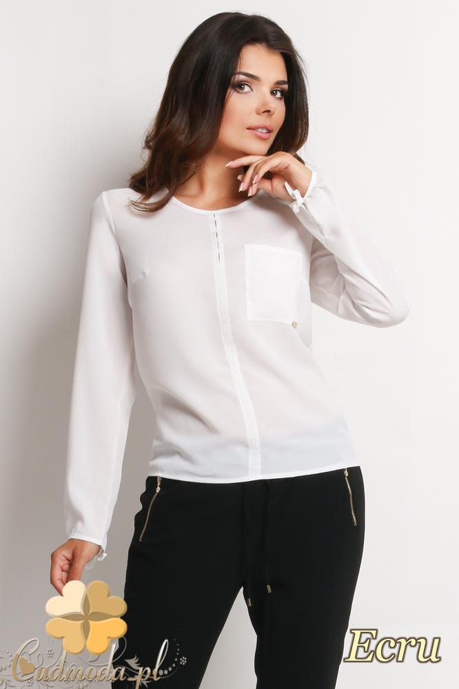 CM2008 Bluzka koszulowa z kieszonką na przodzie - ecru