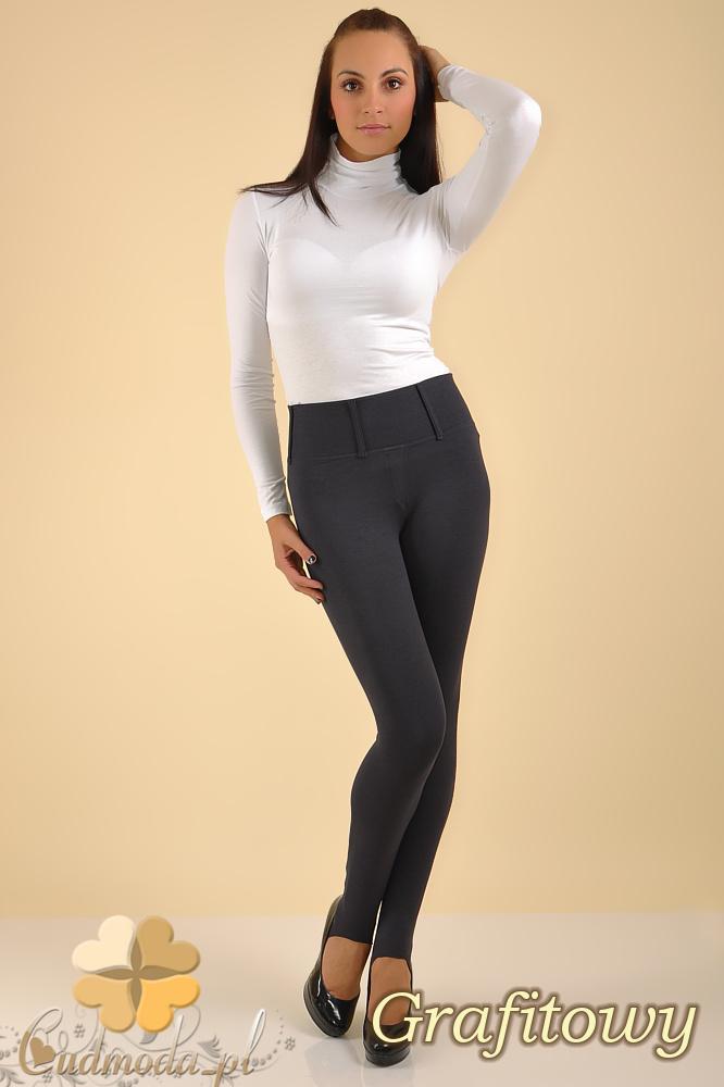CM0158 Włoskie legginsy na wysokiej gumie z zapiętką i kieszeniami - grafitowe
