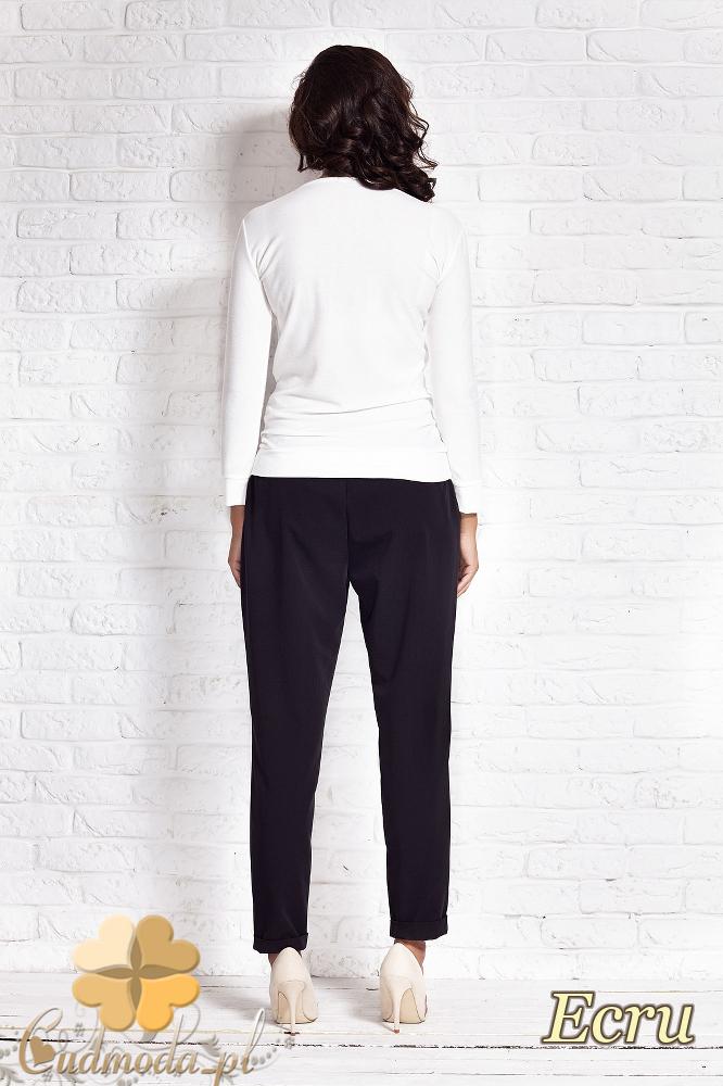 CM2009 Modna stylowa bluzka z długim rękawem - ecru