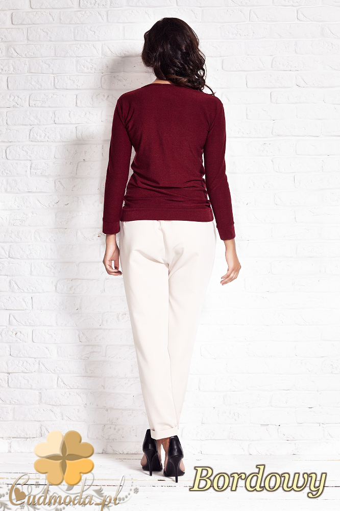 CM2009 Modna stylowa bluzka z długim rękawem - bordowa