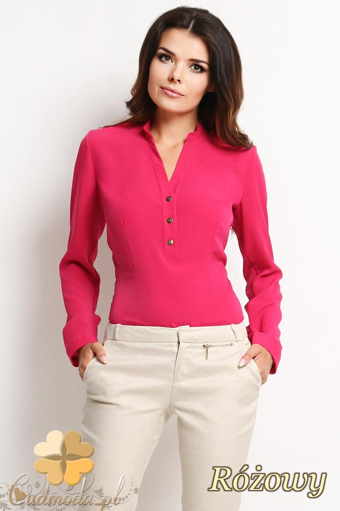 CM2010 Biurowa bluzka koszulowa zapinana na guziki - różowa