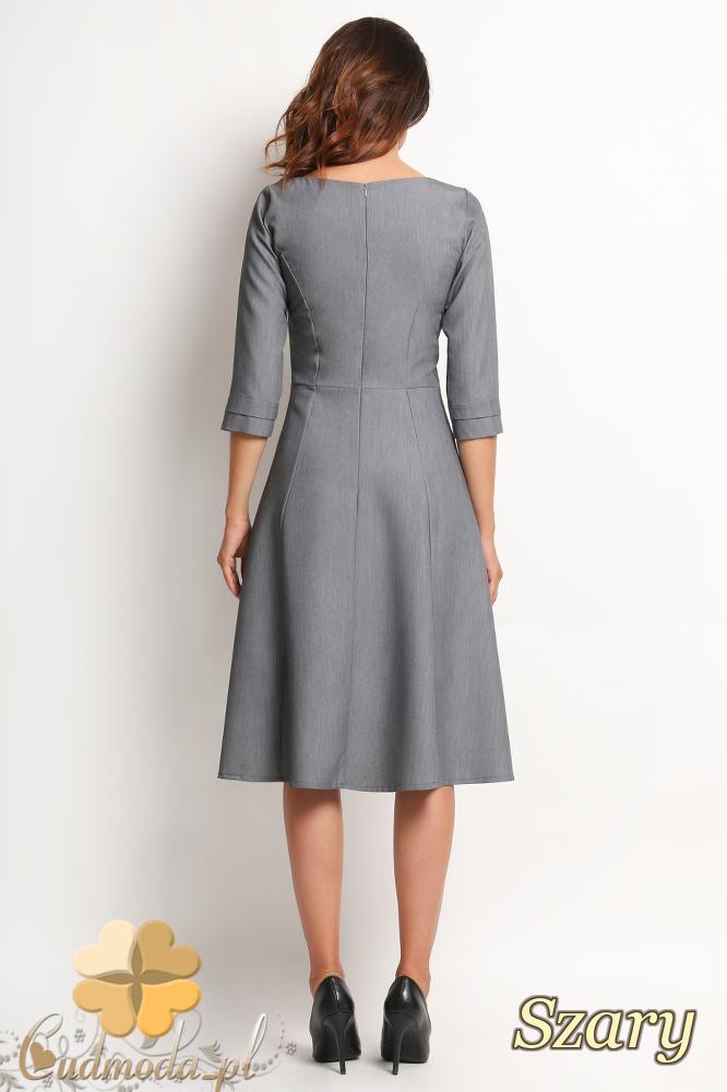 CM2011 Elegancka biurowa sukienka - szara