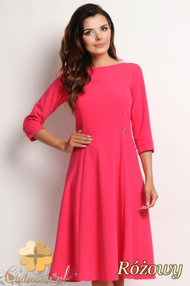 CM2011 Elegancka biurowa sukienka  - różowa