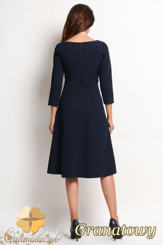CM2011 Elegancka biurowa sukienka - granatowa