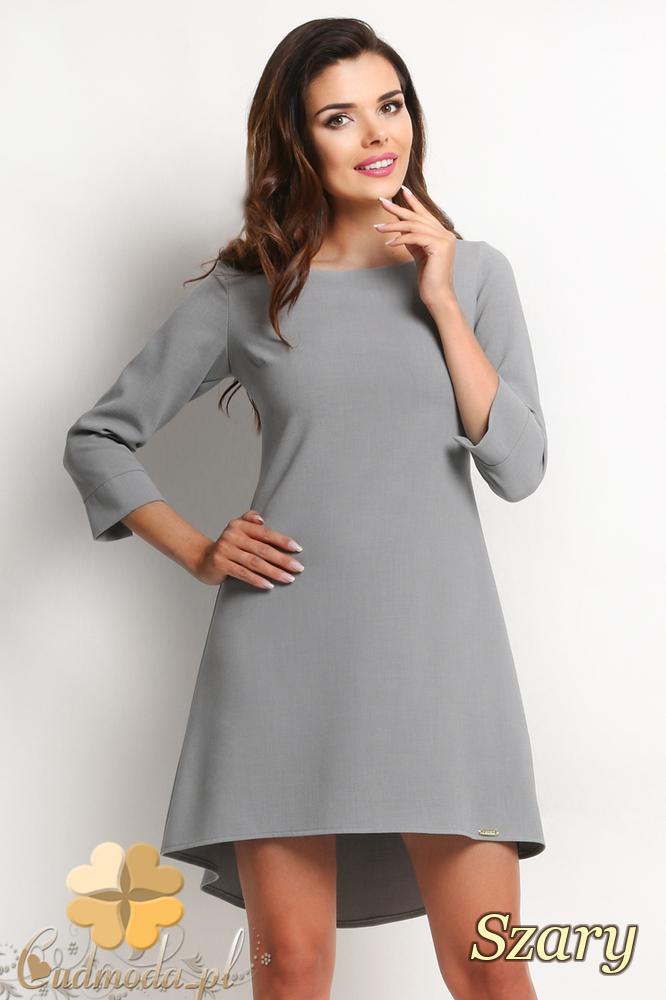 CM2014 Asymetryczna sukienka damska rękaw 3/4 - szara