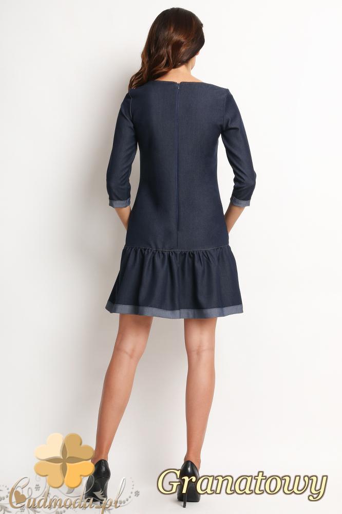CM2017 Jeansowa sukienka z falbanką - granatowa