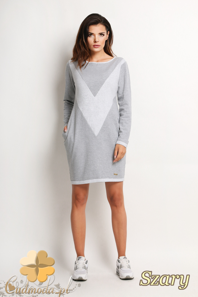 CM2018 Sukienka tunika wzór V - szara