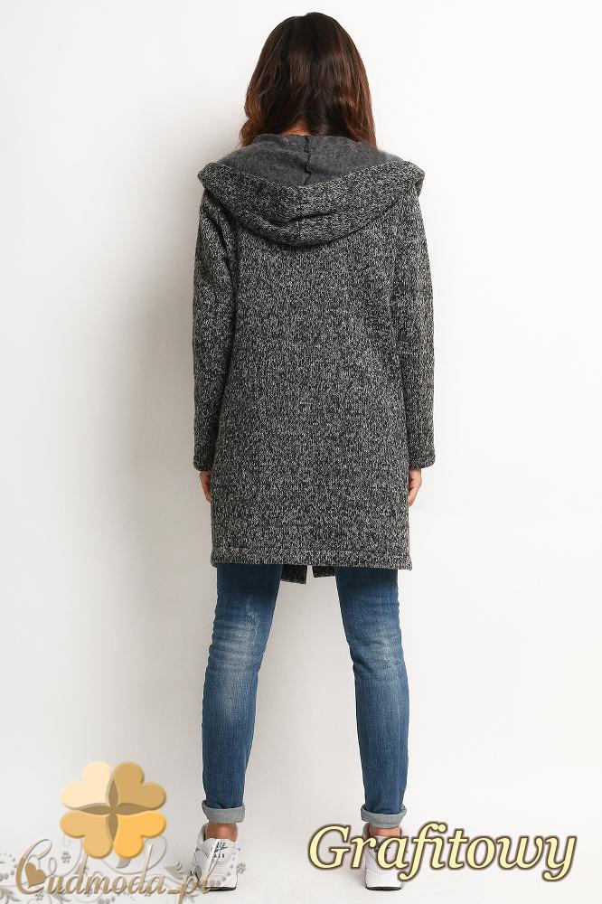 CM2022 Długi sweter płaszcz z kapturem i dwiema kieszonkami z przodu - grafitowy