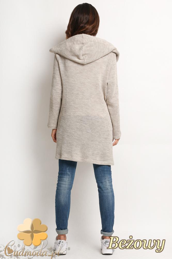 CM2022 Długi sweter płaszcz z kapturem i dwiema kieszonkami z przodu - beżowy