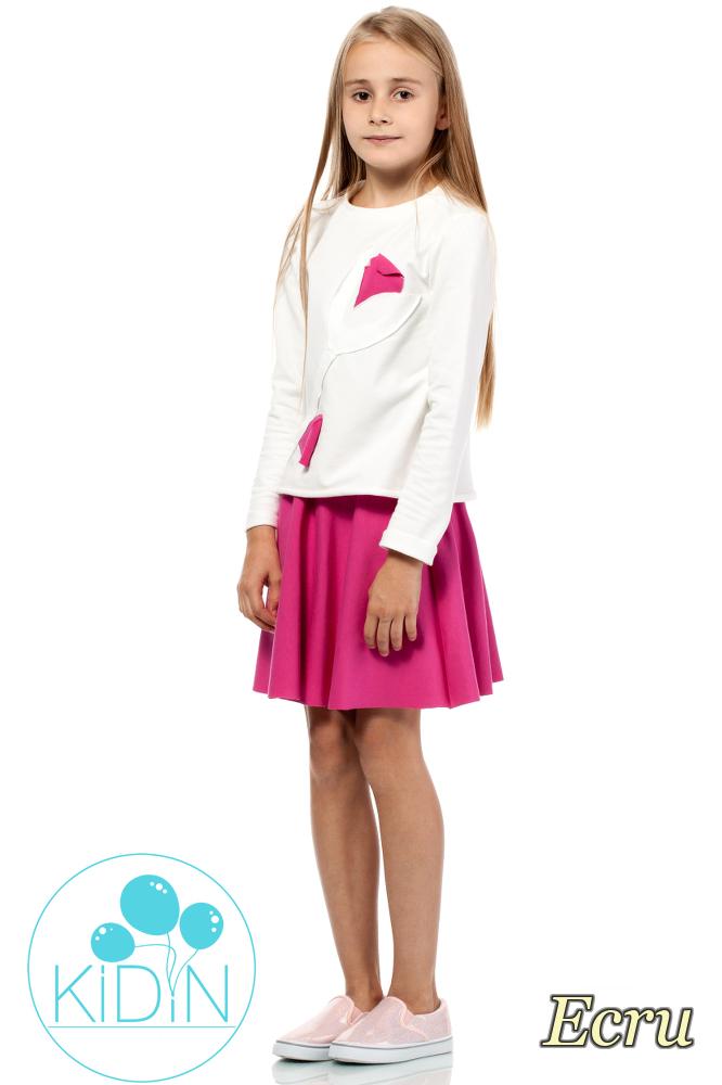CM2028 Dziewczęca bluza z ozdobnym kwiatkiem - ecru