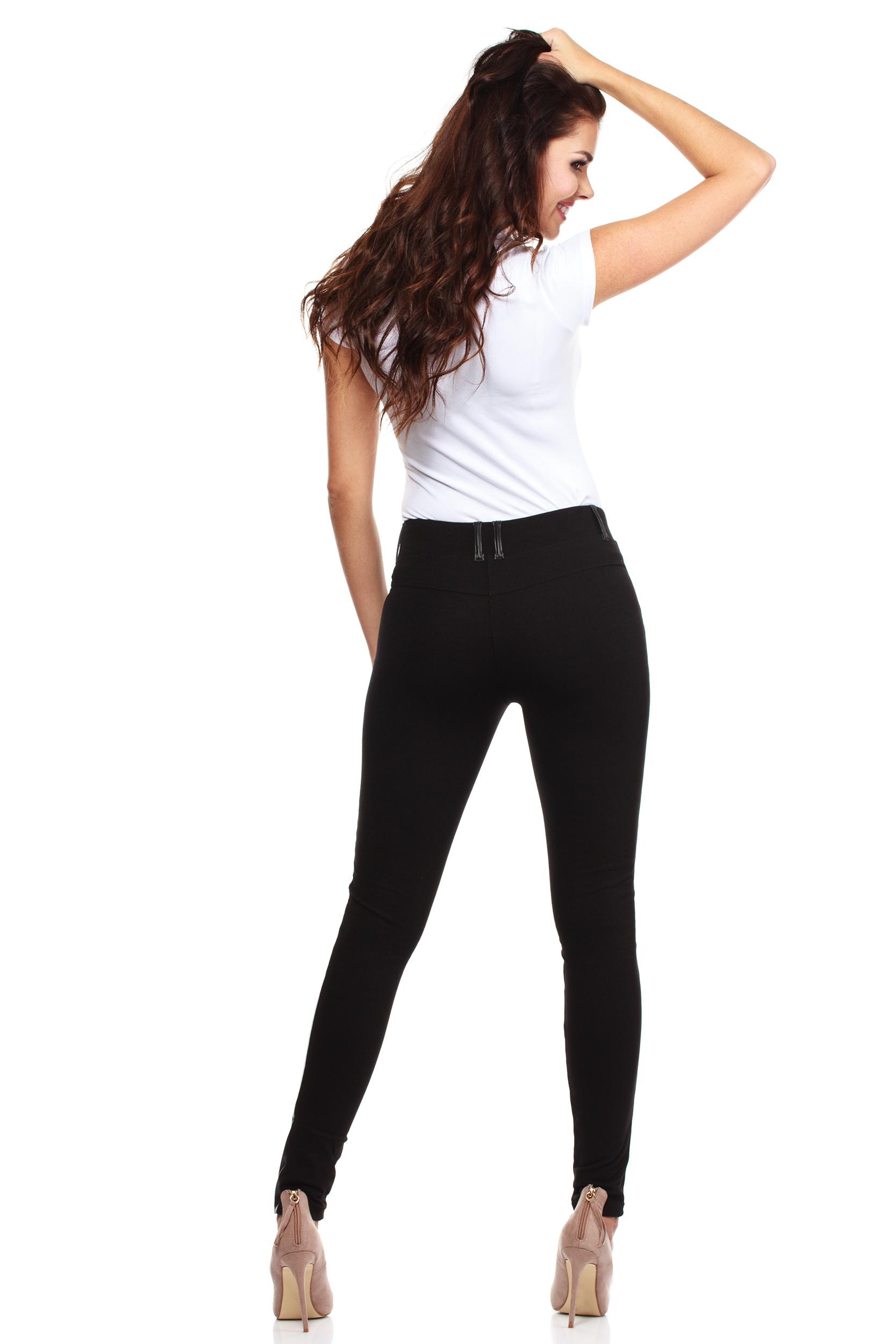 CM0030 Włoskie legginsy ze skórzaną wstawką czarne
