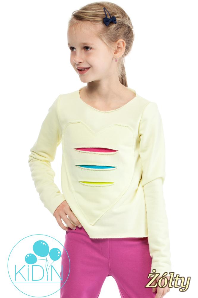 CM2030 Dziewczęca dresowa bluza z sercem - żółta