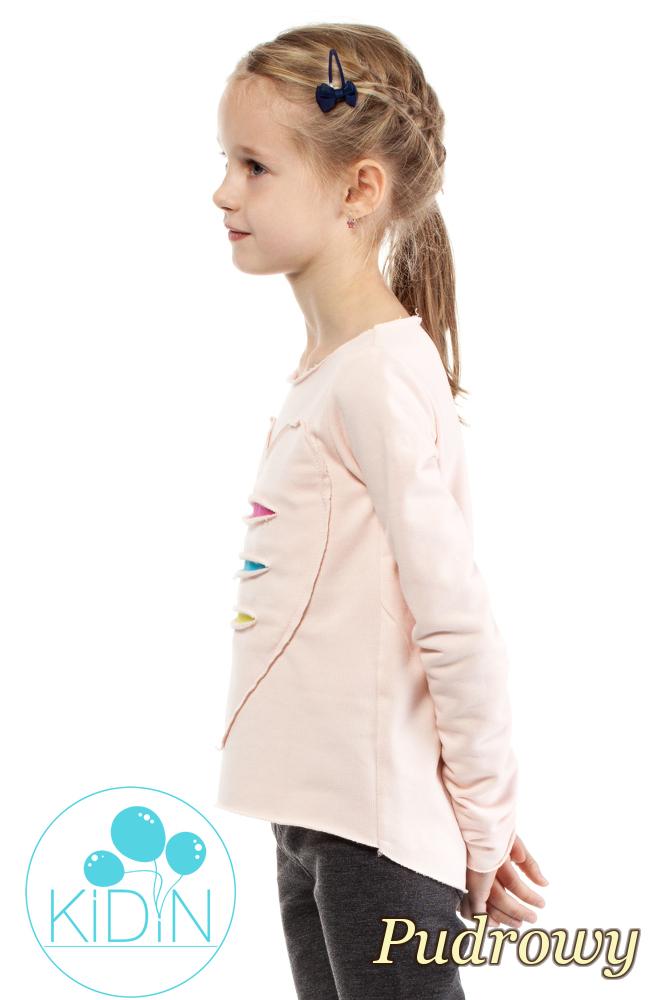 CM2030 Dziewczęca dresowa bluza z sercem - pudrowa