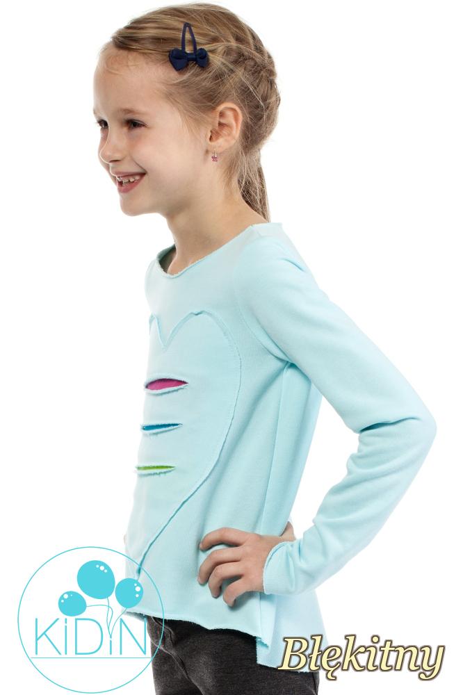 CM2030 Dziewczęca dresowa bluza z sercem - błękitna