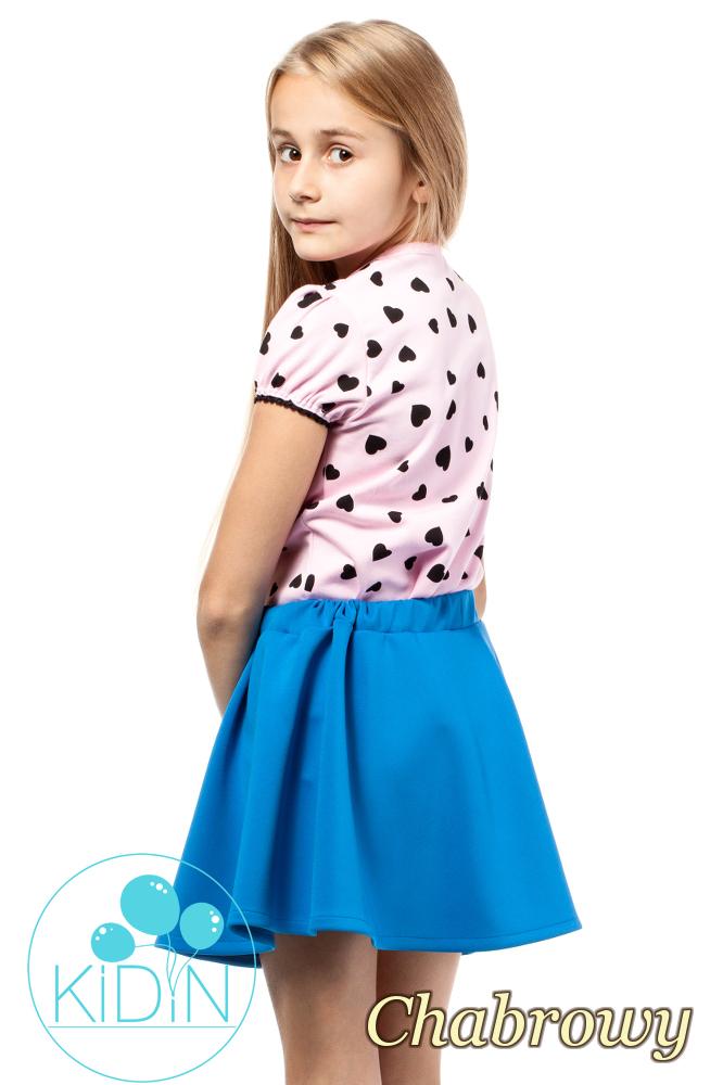 CM2031 Dziewczęca spódniczka z guziczkami - chabrowa