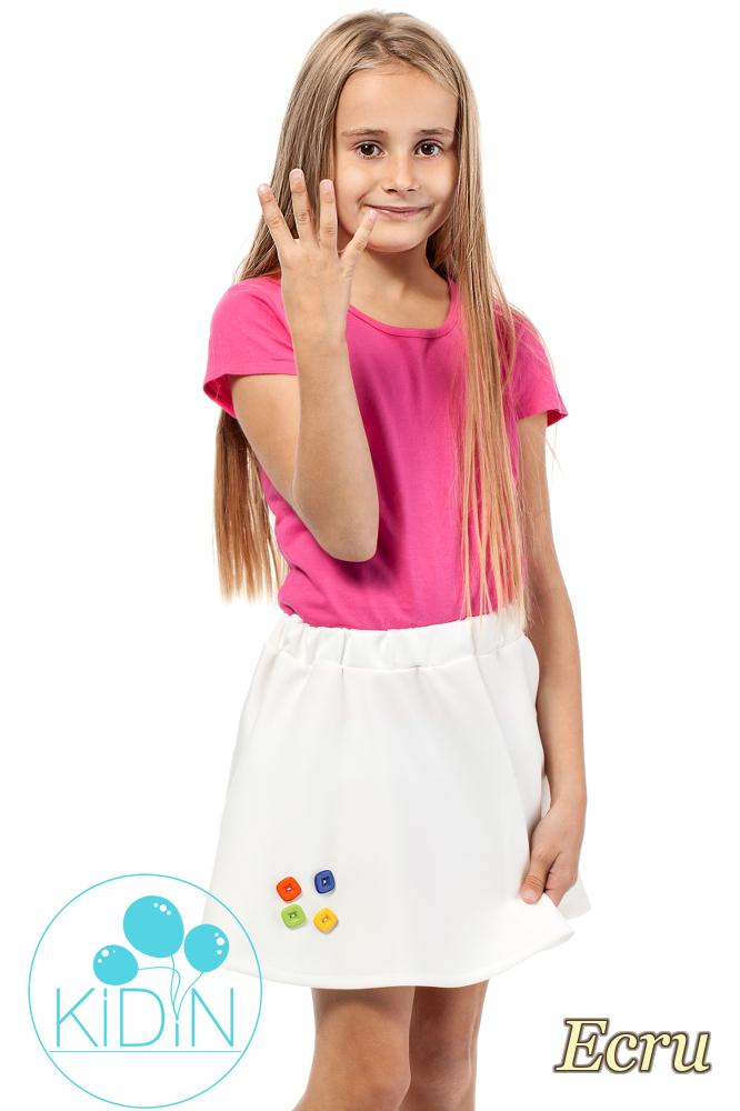 CM2031 Dziewczęca spódniczka z guziczkami - ecru
