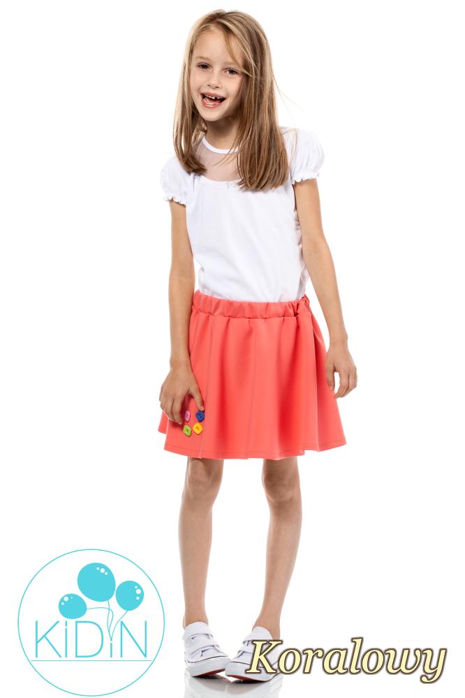 CM2031 Dziewczęca spódniczka z guziczkami - koralowa
