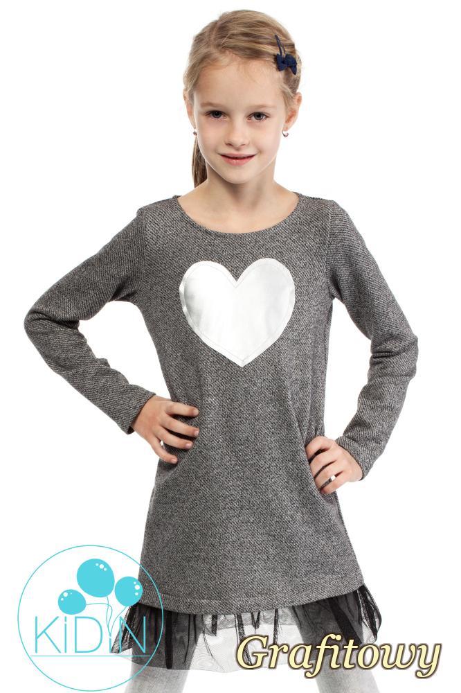 CM2032 Dzianinowa sukienka dziewczęca z tiulowym dołem - grafitowa
