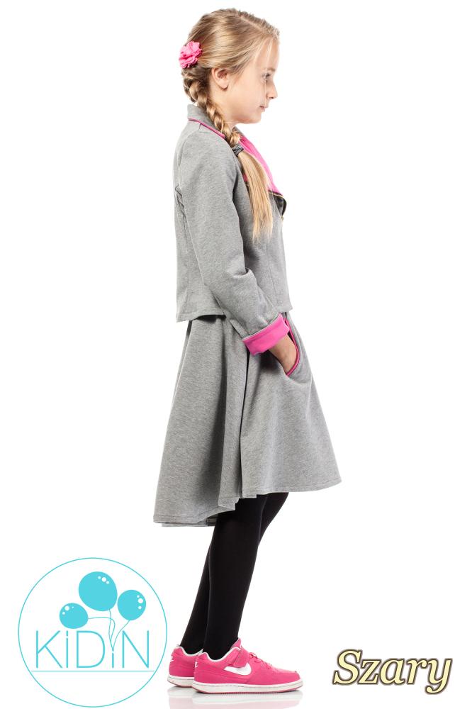 CM2033 Asymetryczna spódniczka bawełniana dla dziewczynki - szara