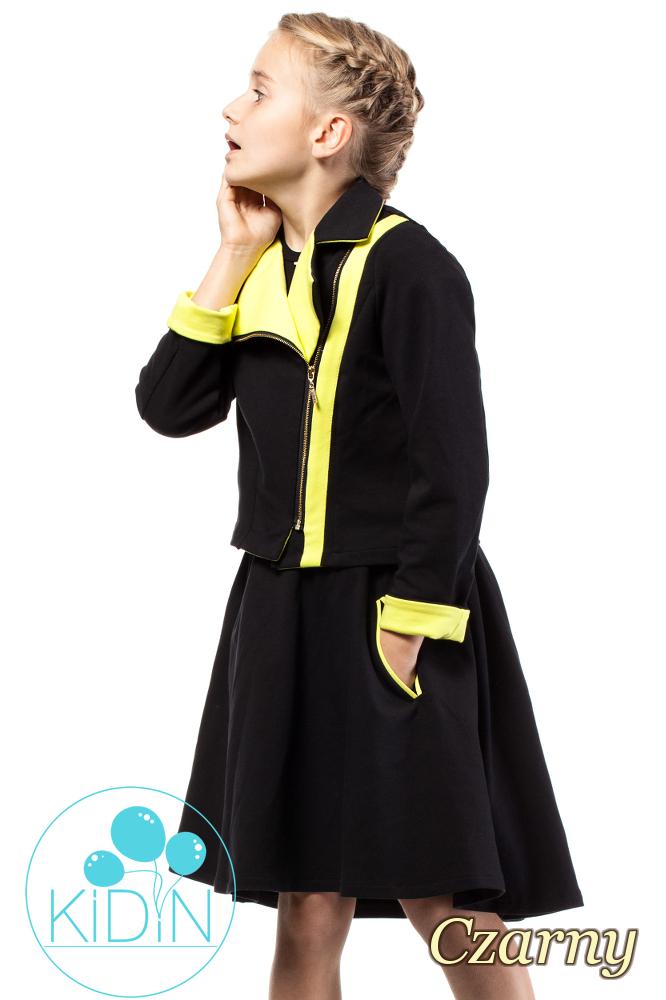 CM2033 Asymetryczna spódniczka bawełniana dla dziewczynki - czarna