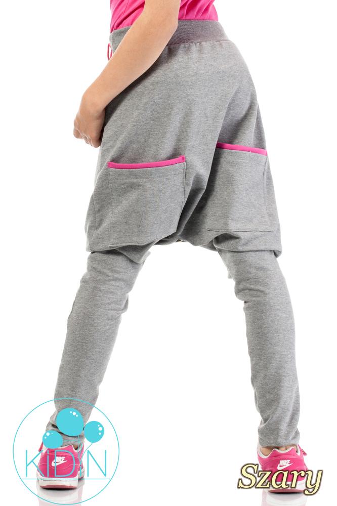 CM2035  Bawełniane spodnie o kroju baggy - szare
