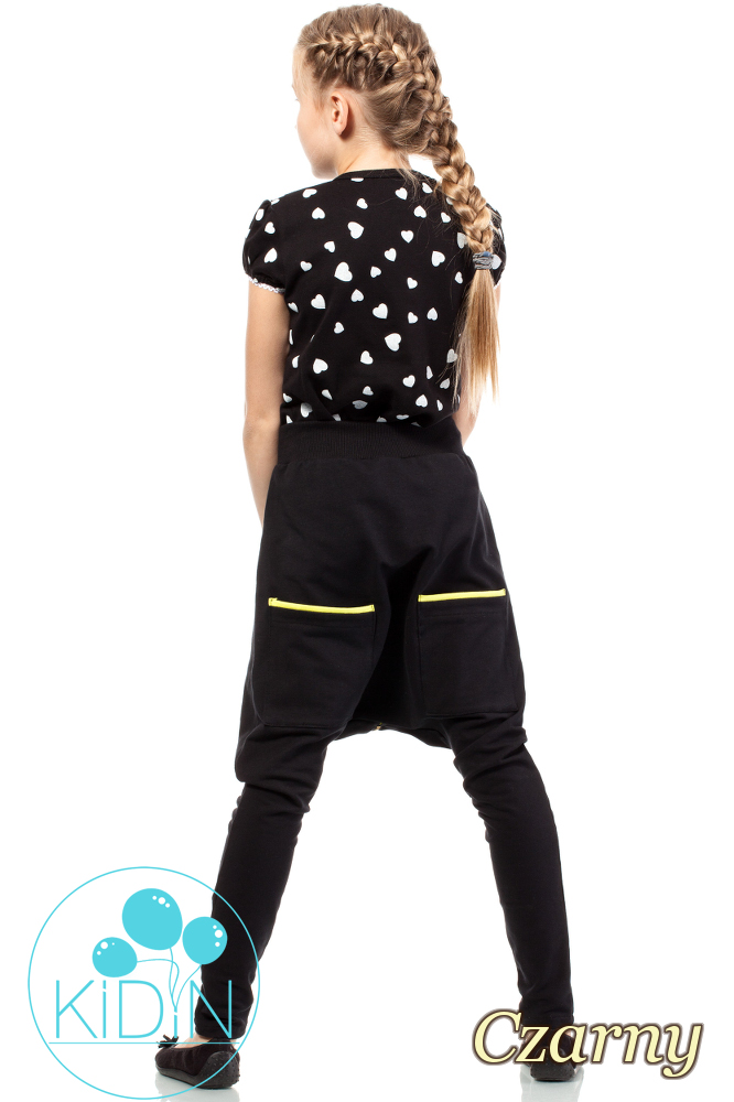 CM2035  Bawełniane spodnie o kroju baggy - czarne
