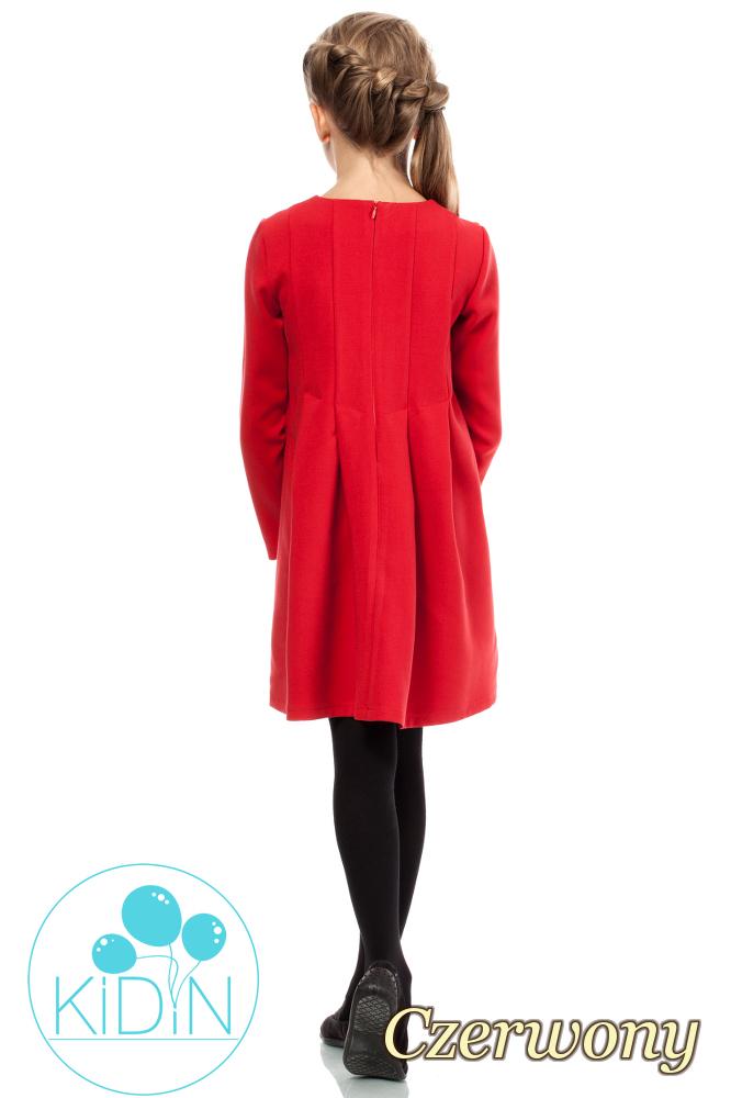 CM2036 Dziewczęca elegancka sukienka - czerwona