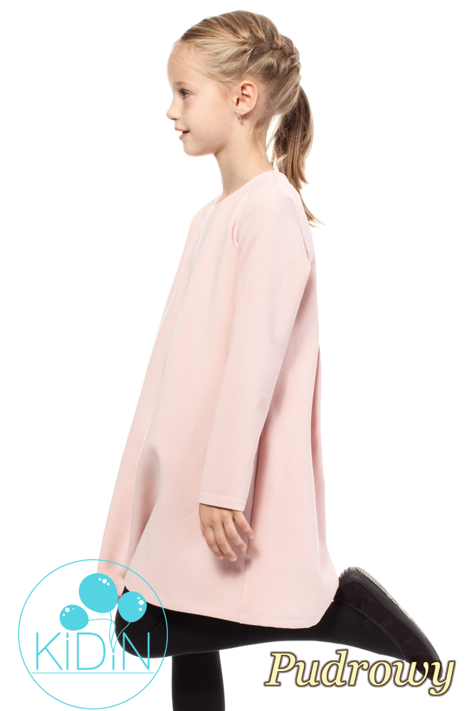 CM2036 Dziewczęca elegancka sukienka - pudrowa