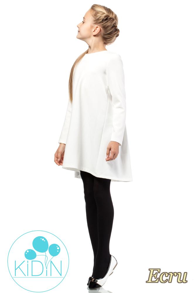 CM2036 Dziewczęca elegancka sukienka - ecru