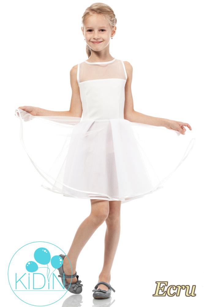 CM2037 Tiulowa sukienka dziecięca wizytowa - ecru