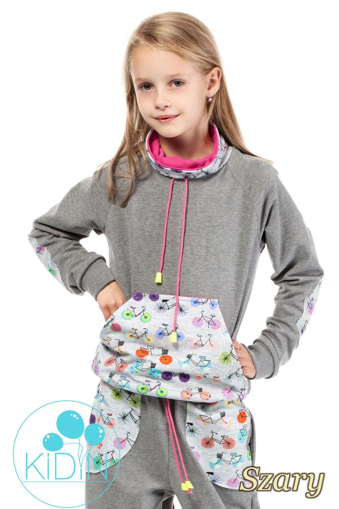 CM2038 Dziecięca bluza z kominem - szara