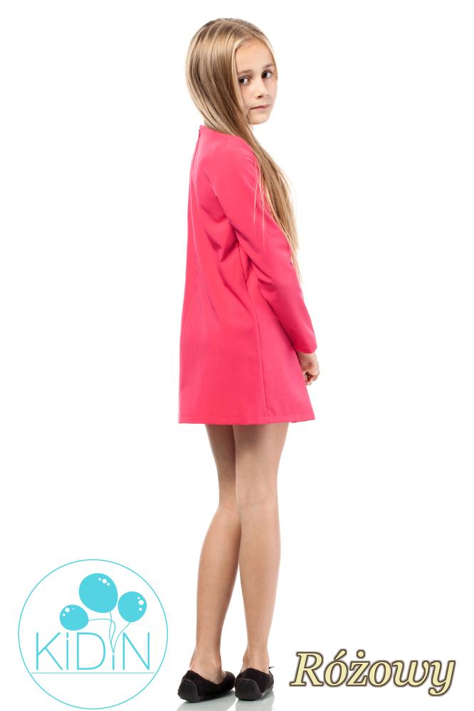 CM2040 Rozkloszowana sukienka dziewczęca z kokardką - różowa