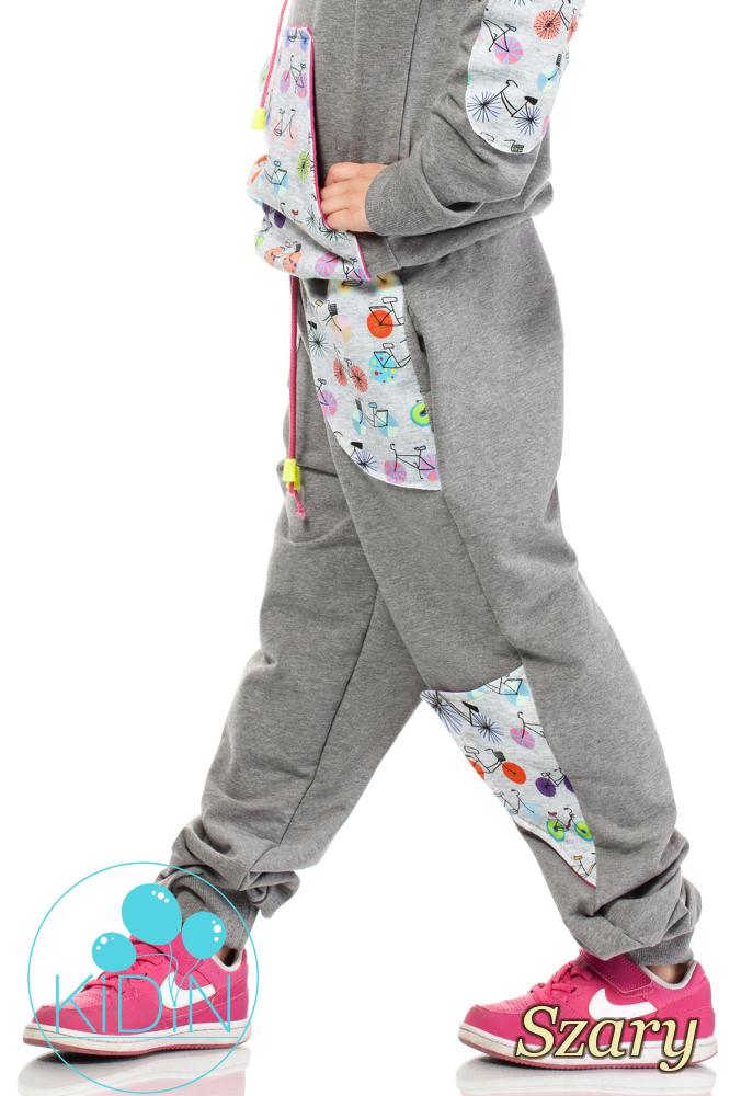CM2039 Dziecięce dresowe spodnie z dużymi kieszeniami - szare